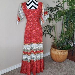 70s Vintage Hippie Boho Maxi Dress